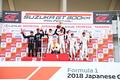 表彰式: GT500クラスのトップ3のドライバーが登壇