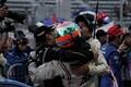 決勝レース: GT300クラスで優勝した高橋翼、アンドレ・クートと藤波清斗(JLOC)