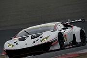 公式テスト岡山1回目: GT300クラストップタイムの小暮卓史/アンドレ・クート/手塚祐弥組(JLOCランボルギーニGT3)
