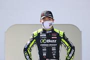決勝記者会見: 優勝した阪口晴南(B-MAX RACING TEAM)