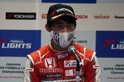 決勝記者会見: 2位の佐藤蓮(TODA RACING)